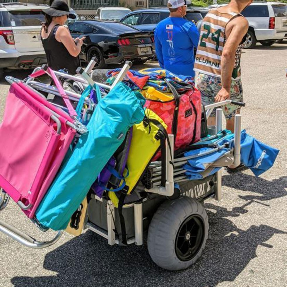 Beach Cart with 16in Balloon Wheels Loaded Down