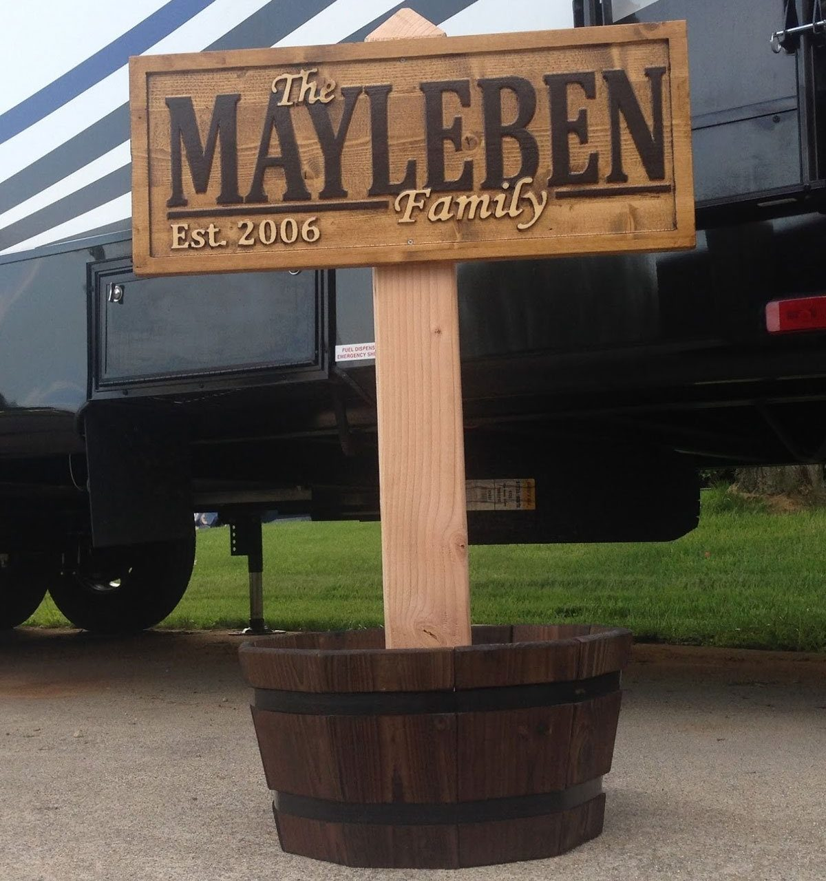 Rustic Wood Engraved Sign